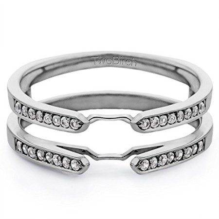 Traditional Style Cathedral Ring Guard Enhancer with Diamonds GH