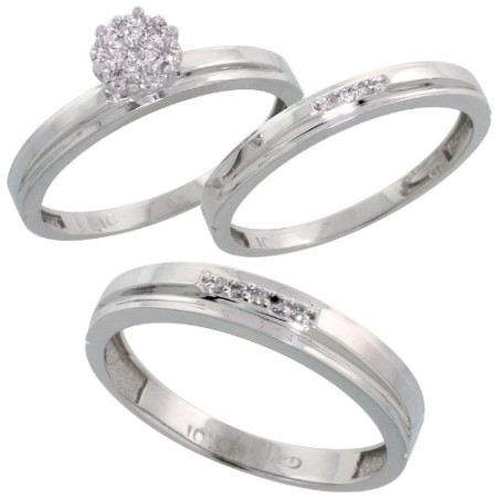 10k White Gold Diamond Trio Engagement Wedding Ring Set For Him 4mm And Her 3 Mm 3 Piece 0 10 Cttw Brilliant Cut Ladies Size 5 5