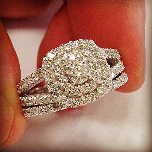 1 110ct cushion halo diamond engagement wedding ring set 10k white gold dress up the hand - 10k Wedding Ring