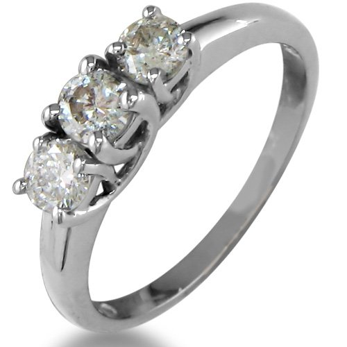 1 2ct Three Diamond Engagement Ring in Sterling Silver Available Ring Sizes