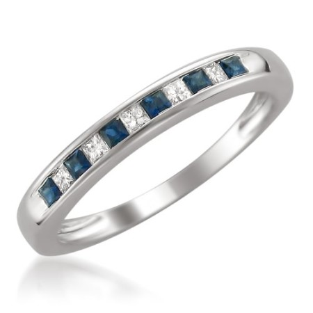 14k White Gold Princesscut Diamond and Blue Sapphire Wedding Band
