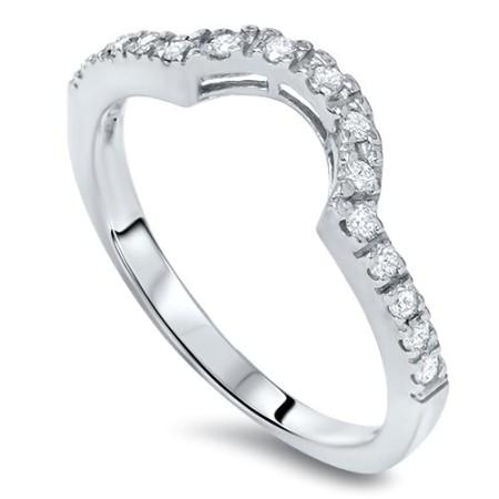 14ct Curved Diamond Notched Wedding Ring Enhancer 14K Dress Up