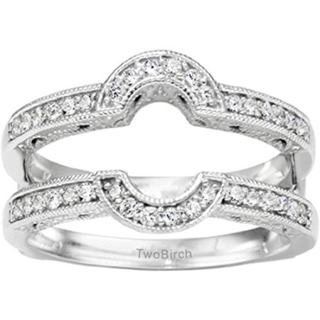 d4dd4a0212dcc TwoBirch 0.21 Ct. Filigree Millgrained Vintage Halo Ring Guard in Sterling  Silver with Diamonds (G,I2) (Size 4.5)