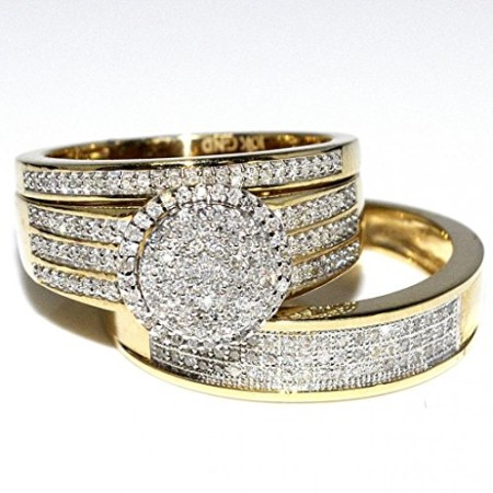 Rings Midwestjewellery His Her 10k Yellow Gold Halo Style Wedding