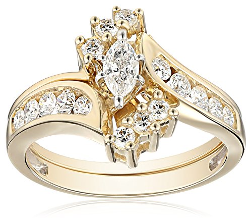 IGI Certified 14k Yellow Gold Bypass Diamond 1cttw H I Color I1 I2 Clarity