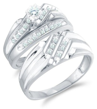 Size 45 14K White Gold Diamond Mens and Ladies Couple His Hers