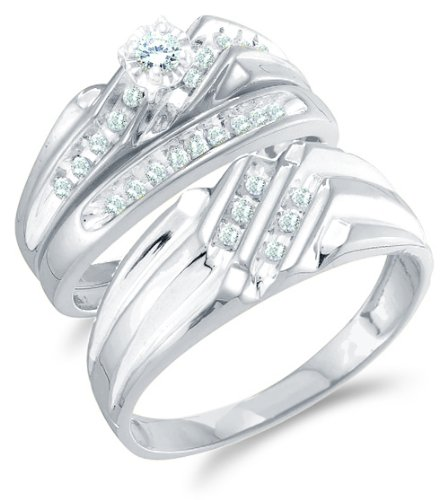Size 4 5 14K White Gold Diamond Mens And Ladies Couple His Hers Trio