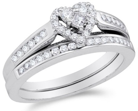 Size 610K White Gold Diamond Ladies Bridal Engagement Ring with
