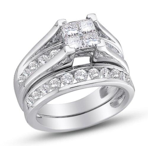 Size 7 10k White Gold Princess And Round Cut Diamond